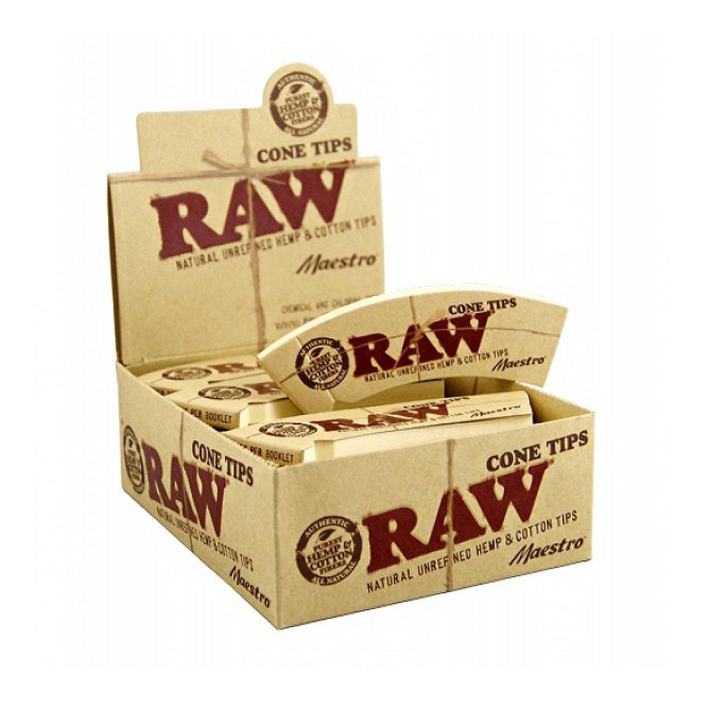 Raw Unrefined Natural Hemp & Cotton Maestro Cone Tips Full Box Of 24 Packs Of 32