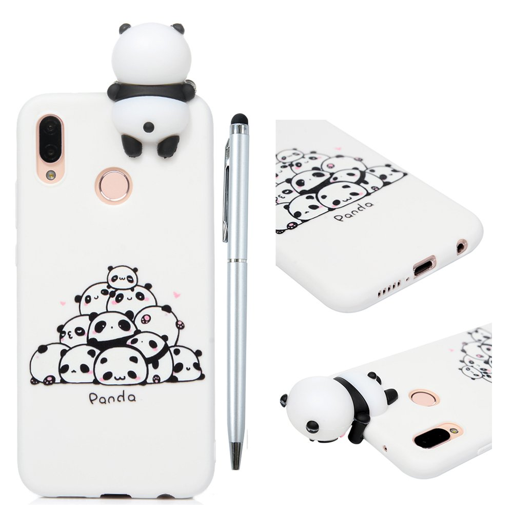Huawei P20 Lite Case, White Cat Case Animal Cover, Soft Silicone Rubber Gel Cute 3D Cartoon Lovely Fashion Carrying Case Kawaii Unique Gift, Sweet Character and Soft Cover with Stylus for Huawei P20 Lite - White Cat MOTIKO ZH-02W21548493