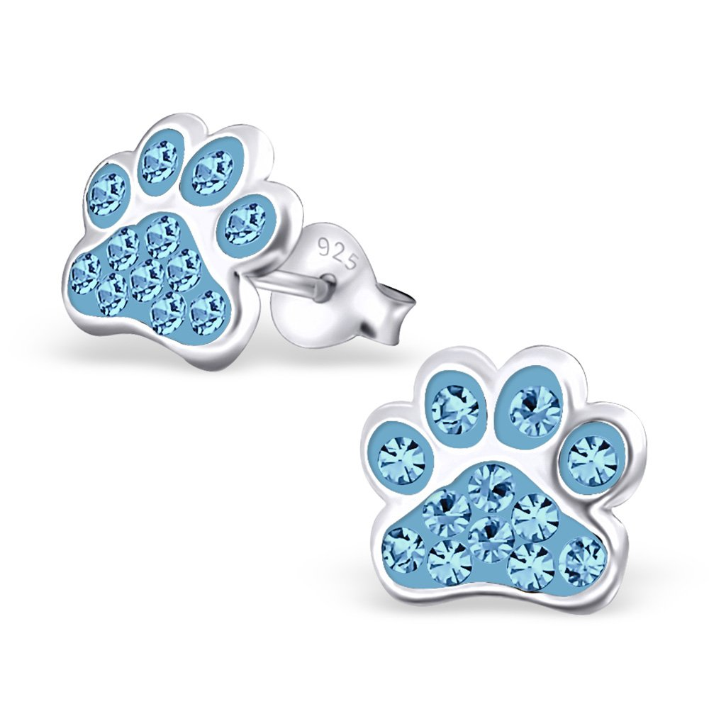Hypoallergenic Paw Print Stud Earrings With Crystals for Girls (Nickel Free and Safe for Sensitive Ears) - Aqua Bohemica