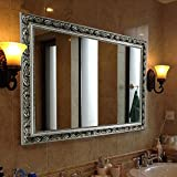 Rectangular Wall Mounted Mirror (38''x26'', Silver)