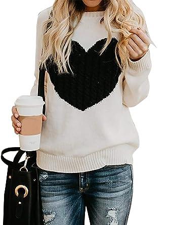 8ad57974d6fc Damen Pullover Strick Winter Rundhals Langarm Loose Mode Freizeit Warmer Sweater  Sweatshirt Oberteile (Small,