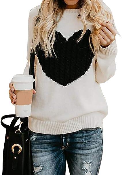 Maglione Donna Felpa Ragazza Sweatshirt Oversize Pullover Invernali  Primavera Manica Lunga Casual Moda Girocollo Tops Regalo Ideale per Natale   Amazon.it  ... 7103af60dfff