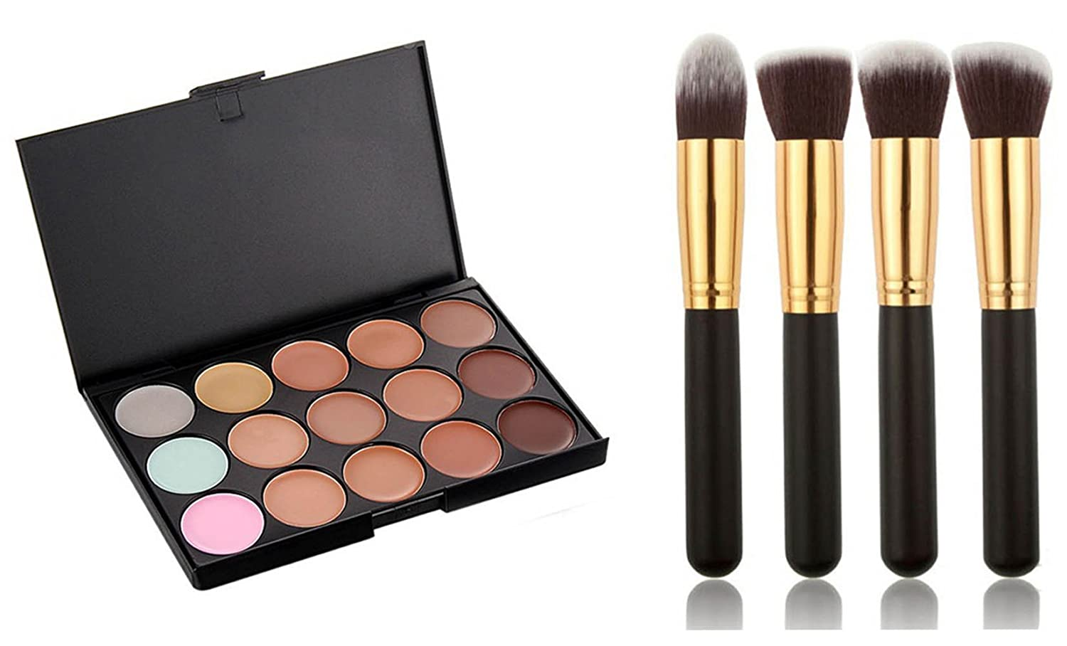 ArRord Pro 15 Colors Face Contour Cream Makeup Concealer Palette + Foundation Powder Brush Kit Arrcbrush04
