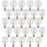Clear Globe G40 Replacement Bulbs E12 Candelabra Screw Base Light Bulbs, 1.5-Inch,5 W, Pack of 25