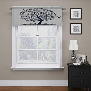 carmaxs Valances Window Treatments Fishing Decor for Small/Kitchen/Bathroom Window Cute Tree of Life with Marine Objects Anchor Wind Rose Compass Reel Nature 60