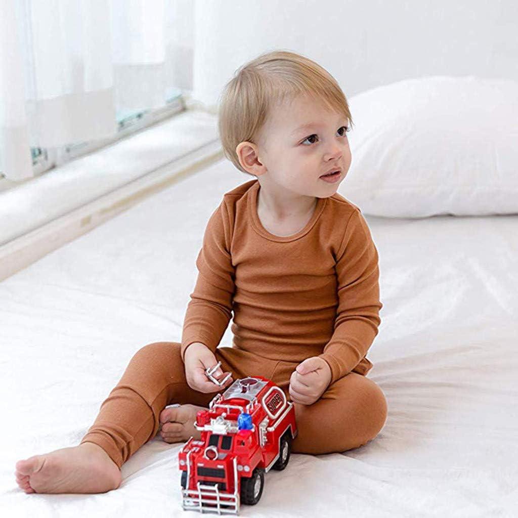 GoodLock Baby Boys Girls Fashion Clothes Set Toddler Long Sleeve Solid Tops+Pants Pajamas Sleepwear Outfit 2Pcs
