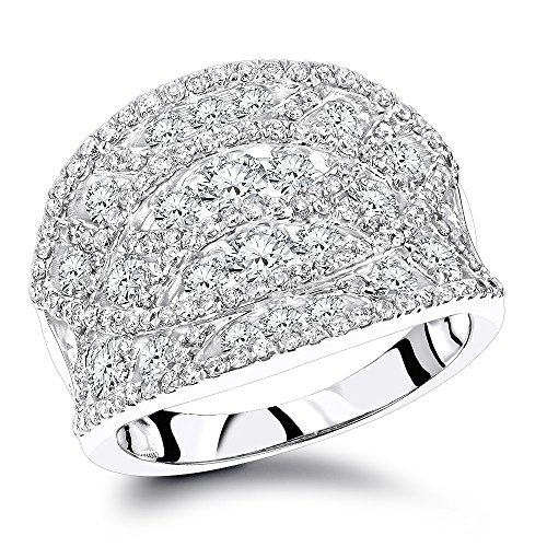 Luxurman Ladies 14K Unique Cage Pave Set Diamonds Right Hand Ring (White Gold Size 7.5)