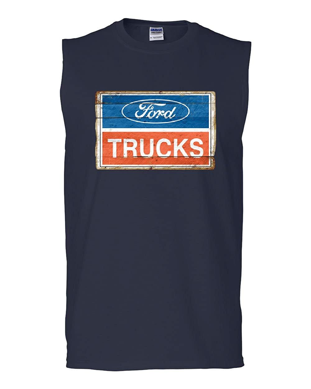 Ford Trucks Old Sign Muscle Shirt Licensed Ford Built Tough