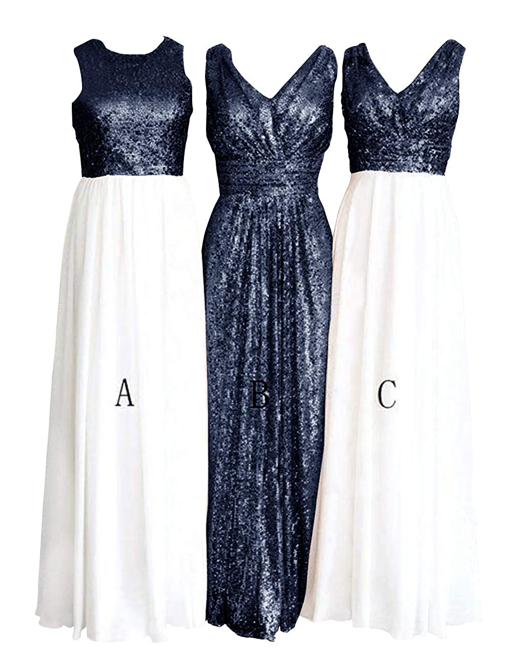 Awhite and Navy bluee H.S.D Women's pink gold Sequins Paillettes Long Bridesmaid Party Prom Dress
