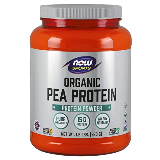 NOW Sports Nutrition Unflavored Organic Pea Protein Powder