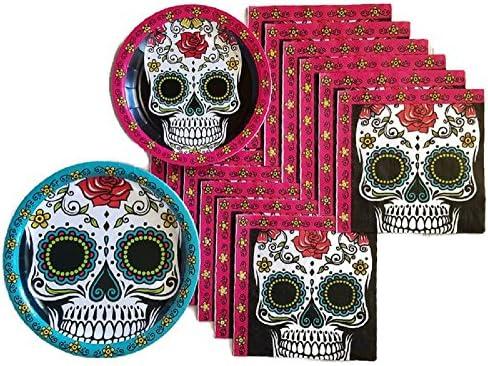 Day of the Dead Dia de Los MuertosシュガースカルパーティーSuppliesペーパープレートとナプキンBundle of 3–サービスfor 32