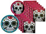 Day of the Dead Dia De Los Muertos Sugar Skull Party Supplies Paper Plate and Napkin Bundle of 3 - Service for 32