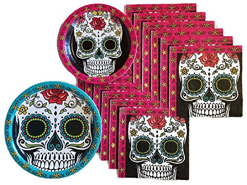 Day of the Dead Dia De Los Muertos Sugar Skull Party Supplies Paper Plate and Napkin Bundle of 3 - Service for 32]()