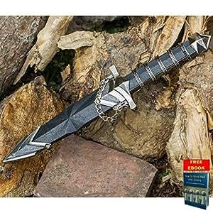 "11.5"" DARK ASSASSIN STAINLESS STEEL MEDIEVAL SHORT SWORD DAGGER w/ SHEATH SL + free eBook by Only US"