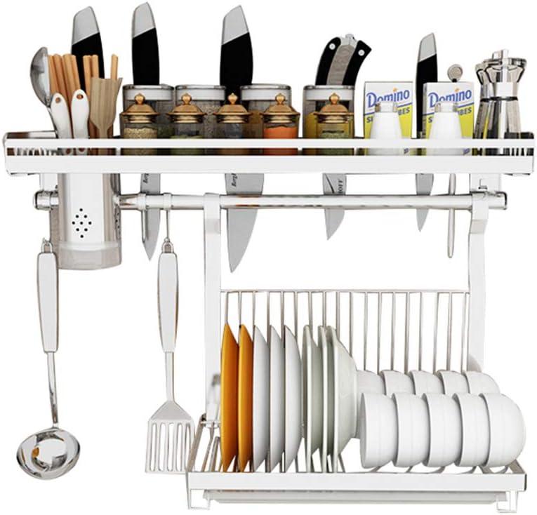 Panda Life - Organizador de cocina de acero inoxidable con tabla de madera, soporte para sartenes, ganchos, estante para especias, estante de cocina, 60 cm Mit Pfannenhalter: Amazon.es: Hogar