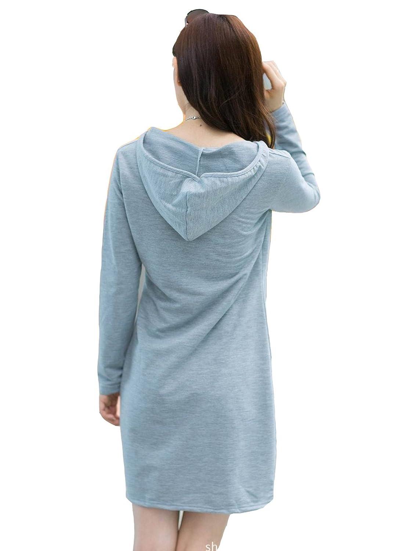 BININBOX® Damen Casual Kleider mit Kapuze Langarm Knielang mit Ausdruck  locker Herbst Frühjahr A-Linie Kleider (40( Länge 91cm/ Brust 92cm), Grau):  ...