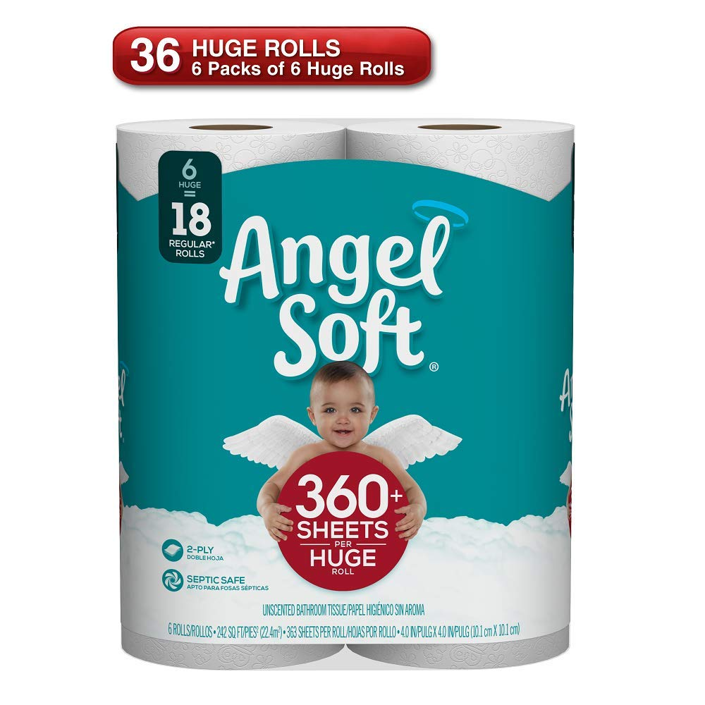 ANGEL SOFT Toilet Paper Bath Tissue, 36 Huge Rolls, 360+ 2-Ply Sheets Per Roll by Angel Soft (Image #2)
