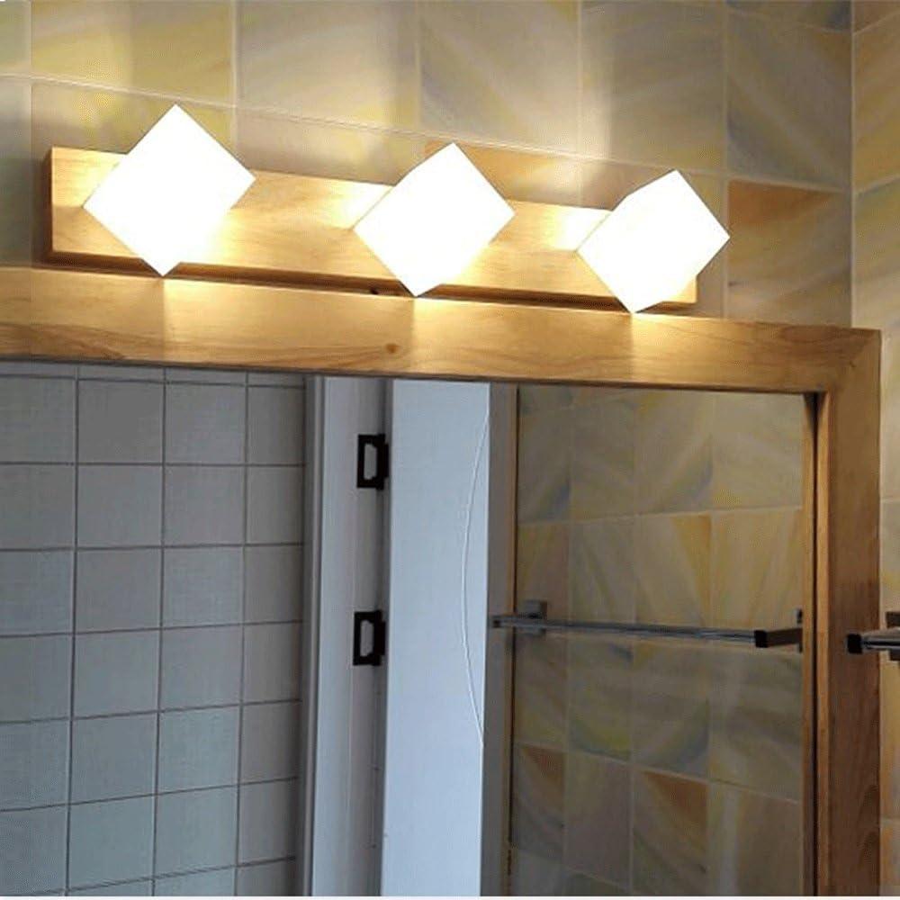 DCCRBR ミラーヘッドライトバスルームミラーライトシンプルな木製中国風回転ランプシェードバスルームドレッシングテーブルドレッシングテーブルランプ 天井シャンデリア (Size : 3 heads)