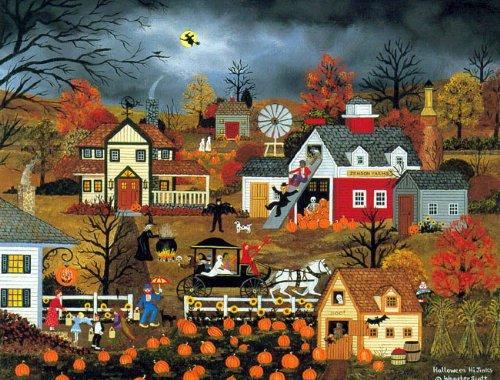 HALLOWEEN HI-JINKS is a LIMITED EDITION HAND SIGNED offset Lithograph by WOOSTER SCOTT -