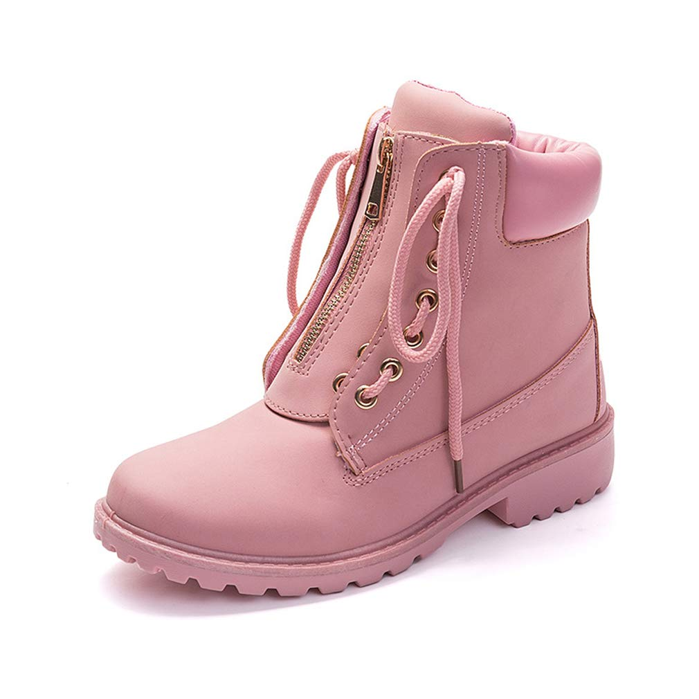 eefb2cc7d5cf Yooabc Women s Ankle Boots Ladies Lace up Low Heel Work Combat Boots Warm  Winter Waterproof Snow Boots Girls Pink Size 8 B(M) US