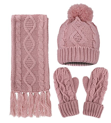 itted Hat Scarf Gloves for Women 3 PCS Set Winter Warm Set ()