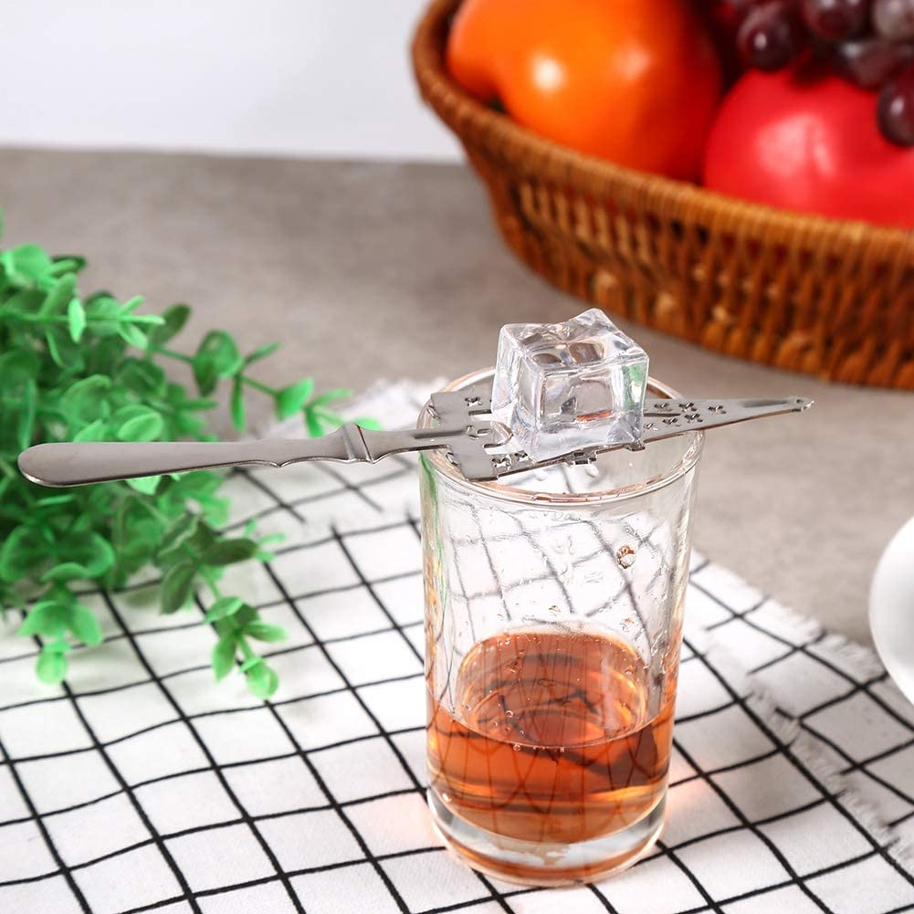FAMKIT 304 Stainless Steel Drinking Spoons Anti-rust Absinthe Spoon Cocktail Bar Glass Cup Drinking Filter Wormwood Spoon