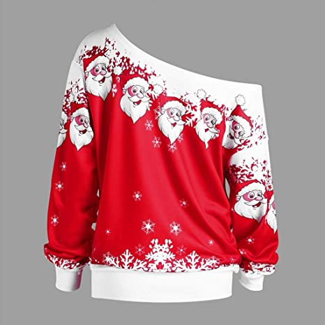 Weihnachten Pullover Damen ZHANSANFM Frauen christmas Santa Drucken Sweatshirt Mode Schulterfrei Lose Weichem Weihnachtspulli Langarmshirts Oberteile Jumper Weihnachtspullover (M, Gr/ün)