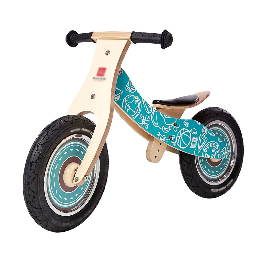 自転車を走らせていない子供ペダルを歩いていない自転車2つの丸い木製のキッドバランスバイク2-6歳 B07F59LPSJ B B