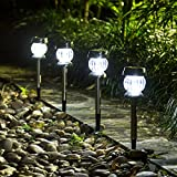 GIGALUMI Solar Lights Outdoor Garden Led Light Landscape/Pathway Lights Stainless Steel-4 Pack