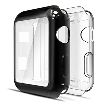 Simpeak Soft Screen Protector Bumper Case Compatible with Apple Watch 38mm Series 2 Series 3, Pack of 2, All-Around, Clear + Plated Black