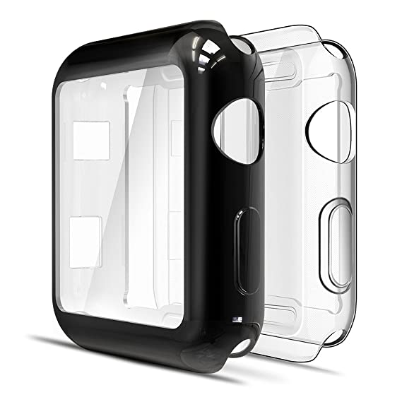 newest f3cad ca4b4 [2 Packs] Simpeak Screen Protector Cover Case for Apple Watch 42mm, All  Around Soft TPU Clear Touch Screen Protector Bumper Cover Case for 42mm  Apple ...