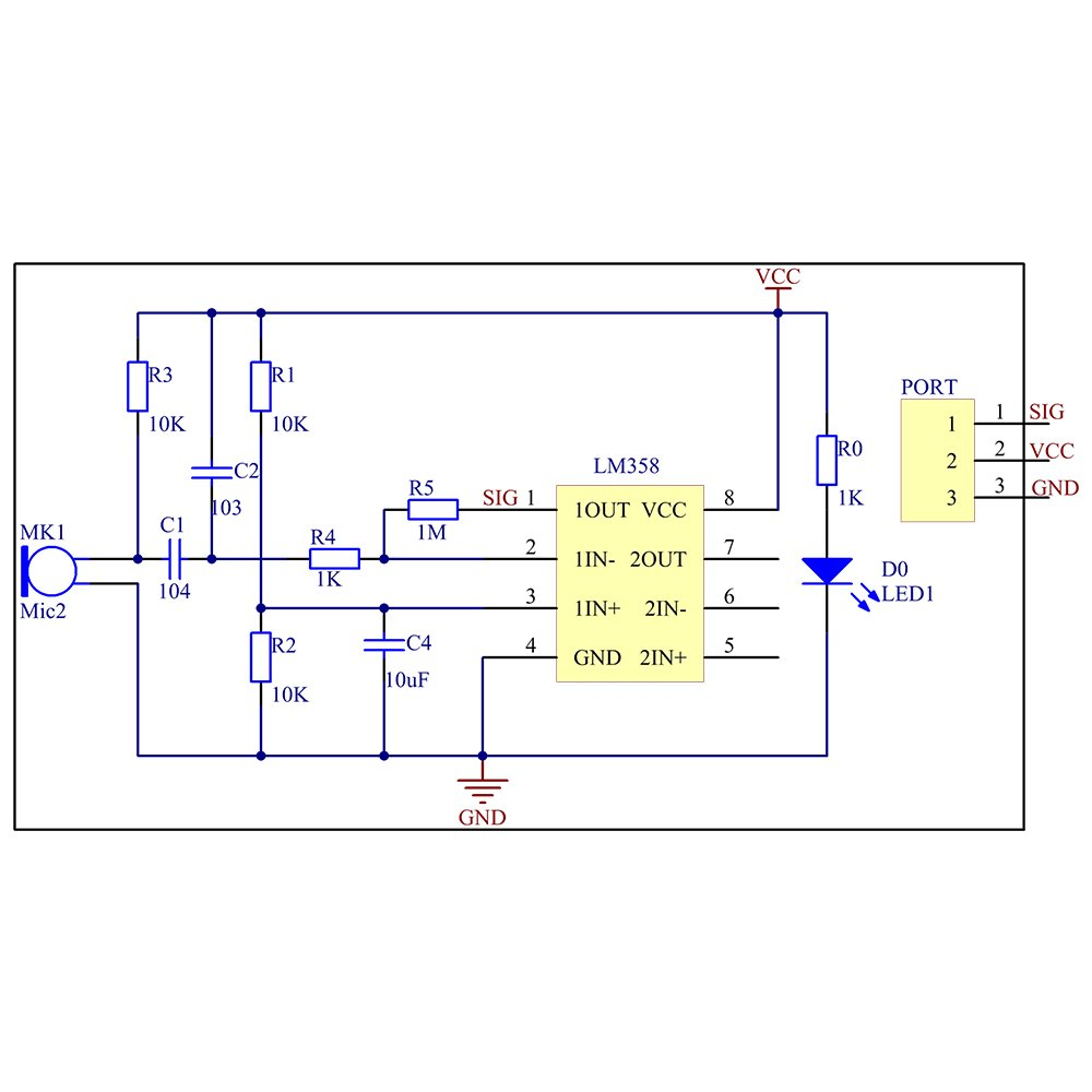 Sunfounder Sound Voice Sensor Module For Arduino And Free Schematic Diagram Thermostat Circuit Using Lm358 Electronics