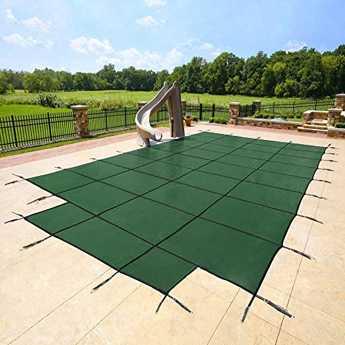 20'x40' Green Mesh - CES Rectangle Inground Safety Pool Cover - 15 Year Warranty - 20 ft x 40 ft in Ground Winter Cover with 4'x8' Center End Steps