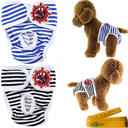 Washable Reusable Striped Navy Style Elastic Dog Pet Diapers Cover Up Sanitary (Puppy Package Medium Girl)