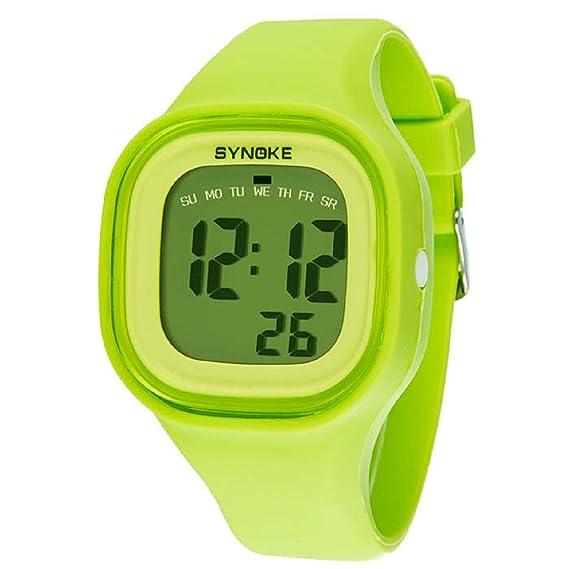 Malloom®2015 moda natación reloj deportivo silicona digital LED impermeable unisexo reloj Verde: Amazon.es: Relojes
