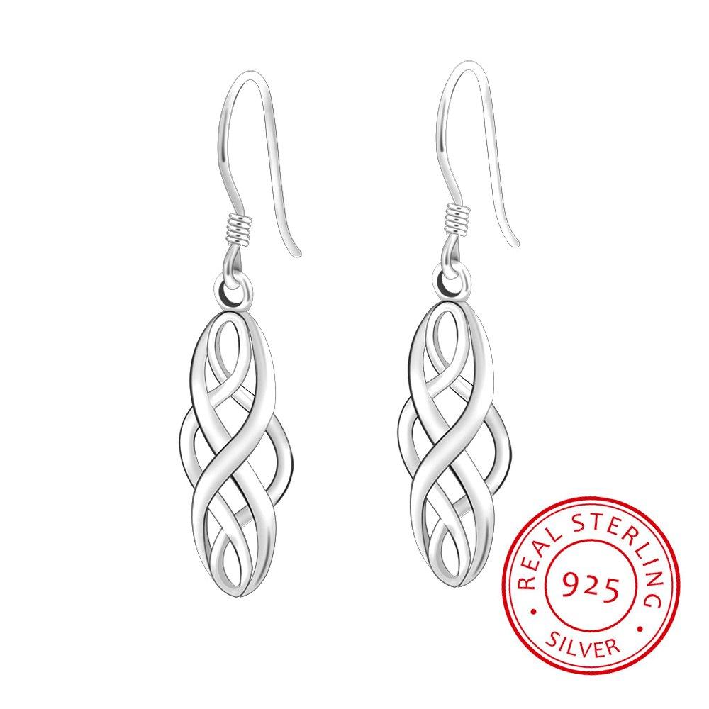 S925 Silver Earrings Enjoit Celtic Knot Drop Dangle Twist Wave Symbol Inifity Ear Loops for Women Girls