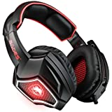 SADES Spirit Wolf 7.1 Surround Sound USB Computer Gaming Headset with Mic,Over-Ear, Noise Isolating,Breathing LED Light for P