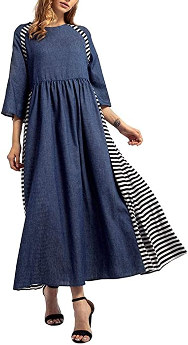 201bbad7e7d Hmlai Clearance Women Striped Denim Long Dress 3 4 Sleeve Stripe Splicing  Casual Maxi Dress
