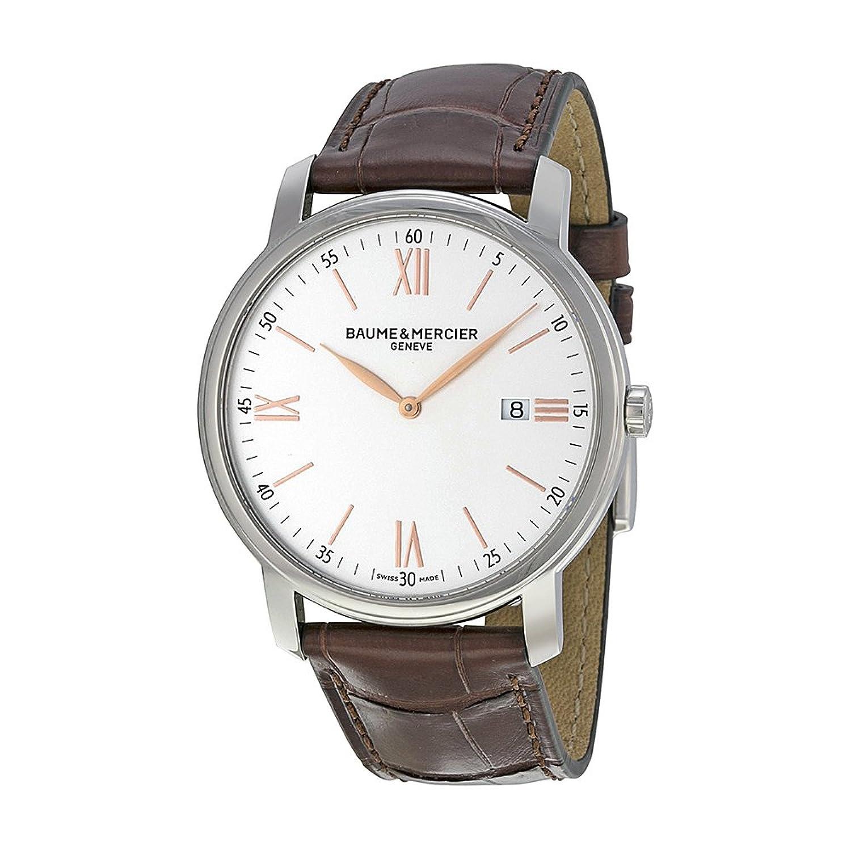 Baume & Mercier Baume et Classima Silber Zifferblatt braun Lederband Herren Armbanduhr moa10144