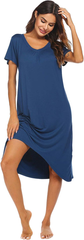 Ekouaer Nightgowns Womens Short Sleeve Sleepwear Comfy Loungewear Plus Size Night Shirt S-XXL