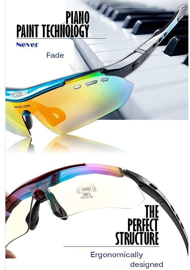 91c24b62cf FreeMaster Polarized Cycling Glasses Sports Sunglasses Antifog UV400  Mountain Bike Motorcycle Driving Hiking Glasses 6 Lens (Blue)   Amazon.co.uk  Sports   ...