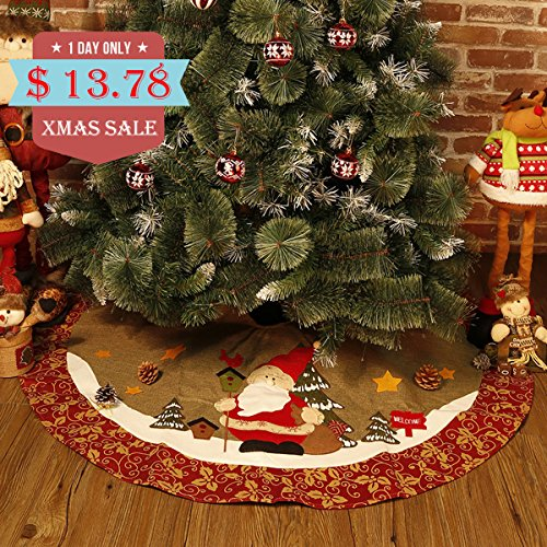 scheam christmas tree skirt round apron skirt floor base cover decoration holiday collection jute burlap tree skirt 48in 122cm buy online in oman