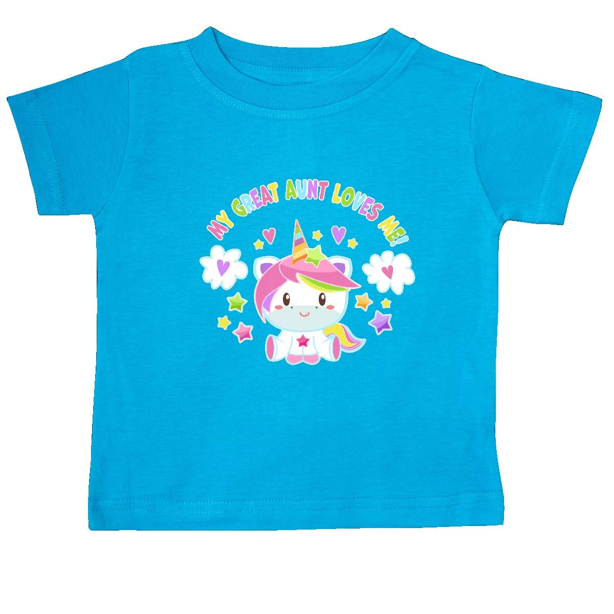 inktastic My Great Aunt Loves Me with Cute Rainbow Unicorn Baby T-Shirt