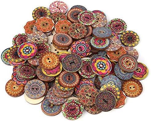 100個 ウッドボタン DIY 縫製工芸のため 2穴 混合パターンヴィンテージウッドボタン装飾 25ミリメートル