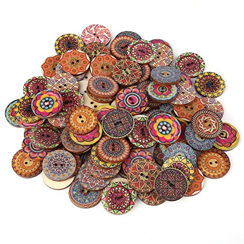 100 Pcs Vintage Mixed Wood Buttons with 2 Holes for Craft DIY Sewing Decoration Accessories 25mm