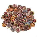 100 Unids Vintage Botones De Madera, Botones Florales De Madera Botones Decorativos Color Mezclado 25 Mm Suave 2 Agujeros Botón de Madera Para Bricolaje Sujetadores de Costura Scrapbooking Y Diy Craft