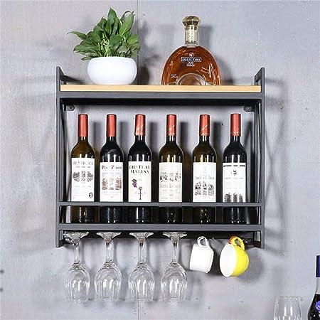 YLCJ Wall Wine Shelf Metal Hierro para Bar Portavasos de Vino de Madera Puesto de vinos Titular de Copa Vinoteca de Pared Estante del Cubo para Colgar en la Pared (tamaño: 60 * 20 * 52 cm)