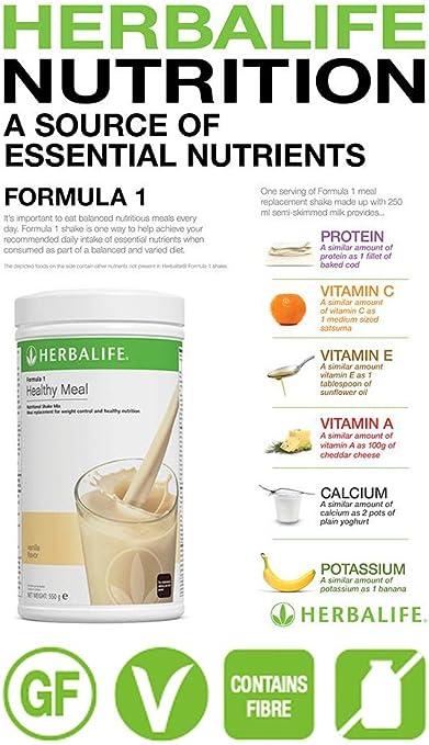 HERBALIFE NUTRITION Batido de Proteina Fórmula 1 Alimento Equilibrado Sabor a Crema de Vainilla - 550g