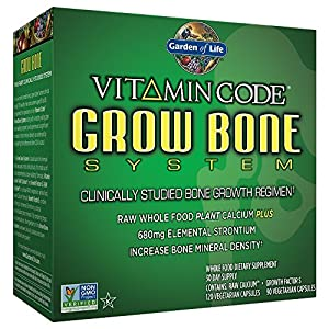 Garden of Life Raw Calcium Supplement Vitamin Code Grow Bone System Whole Food Vitamin with Strontium, Vegetarian