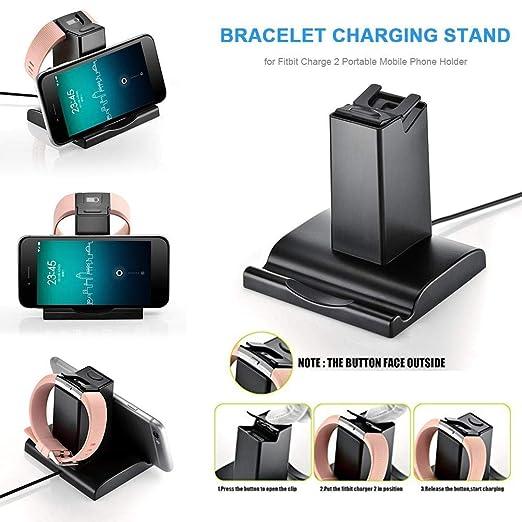 Cherishly - Cargador para Fitbit Charge 2, 2 en 1, estación ...